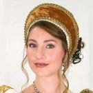 Tudor Velvet Renaissance French Hood - Gold
