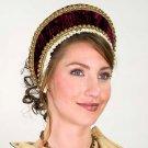 Tudor Velvet French Hood - Burgundy