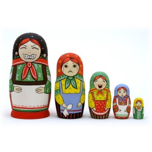 """Stress Reliever Nesting Doll Set 5pc. - 6"""""""