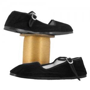 Velvet Mary Jane Slipper � Black, Size 41