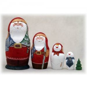 """Carved Christmas Doll 5pc. - 6"""""""