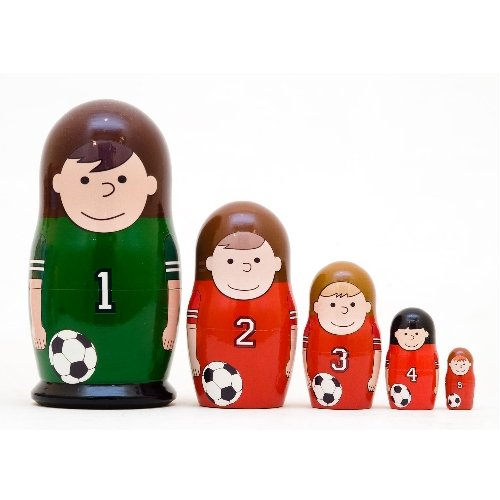 """Soccer Counting Nesting Doll 5pc. - 5"""""""