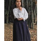 Cotton Medieval Skirt - Navy, X-Large