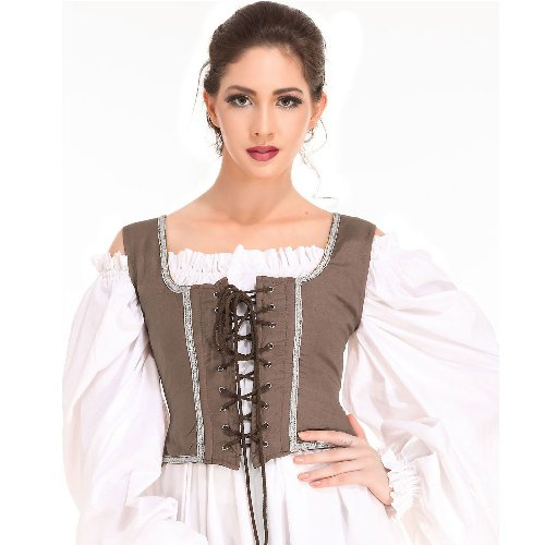 Decorated Wench Bodice � Light Brown, Large