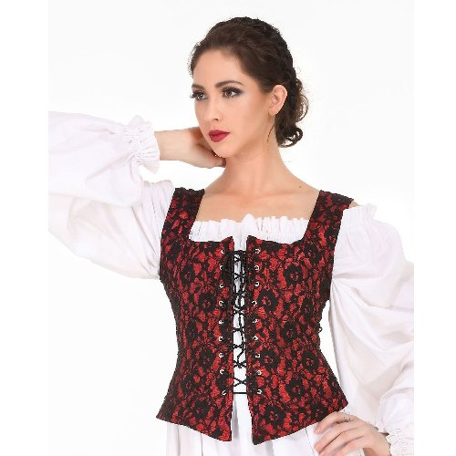 Reversible Medieval Goth Bodice - Red, Small