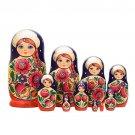 "Volga Maiden Nesting Doll 10pc. - 10"""