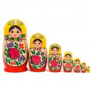 """Traditional Nesting Doll with Rose 7pc - 6"""""""