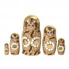 """Woodburned Floral Doll 5pc. - 5.5"""""""