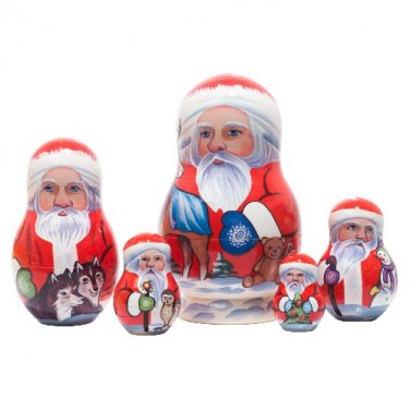 "Yukon Santa Nesting Doll 5pc. - 5"""