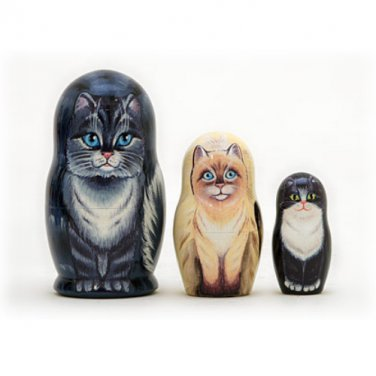"""House Cats Nesting Doll 3pc. - 3.5"""""""