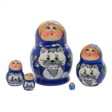 Mini Girl with Cat Doll 5pc. - 1""