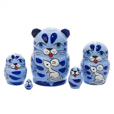 """Mini Blue Cat with Mouse 5pc. - 1"""""""