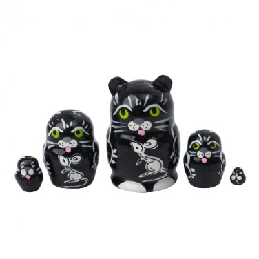 """Mini Black Cat with Mouse Nesting Doll 5pc. - 1"""""""