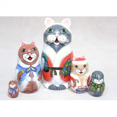 Christmas Cats Doll 5pc. - 5""