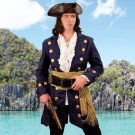 Buccaneer Wool Pirate Coat - Navy, Small