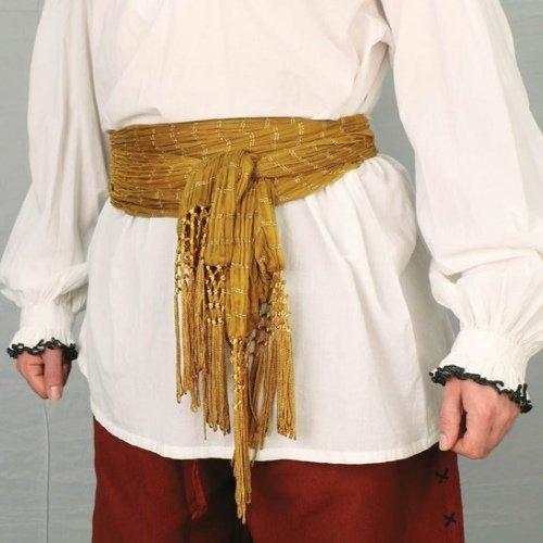 Pirate or Gypsy Tasseled Sash - Gold