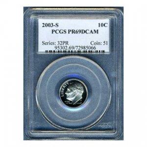 2003-S 2003S ROOSEVELT DIME CERTFIFIED PCGS PR69 DCAM PF69 UC