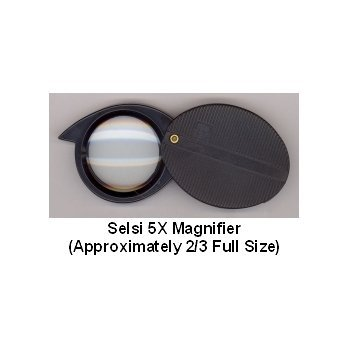 SELSI 5X MAGNIFIER - SWING OUT GLASS LENS 25MM IN DIAMETER - BLACK PLASTIC FRAME