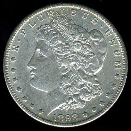 1898-S 1898S MORGAN DOLLAR - 90% SILVER - AU50 DETAILS - XF40 NET
