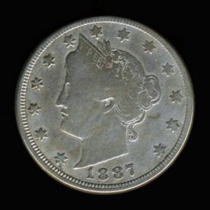 "1887 LIBERTY HEAD ""V"" NICKEL - SEMI-KEY DATE - F12 - FINE"