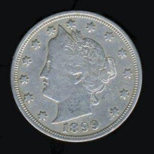 "1899 LIBERTY HEAD ""V"" NICKEL - F15 - FINE PLUS"