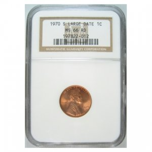 1970-S 1970S LINCOLN CENT - LARGE DATE - LOW 7 - CERTIFIED NGC MS66 RD - BRIGHT RED