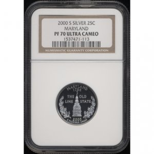 2000-S 2000S MARYLAND STATE QUARTER - SILVER - CERTIFIED NGC PF70 UC PR70 DC
