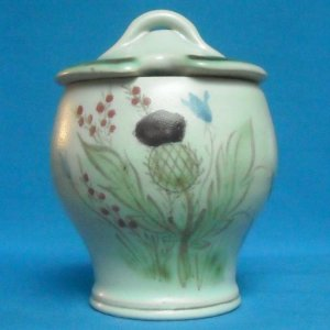 BUCHAN HAND DECORATED STONEWARE JAM, HONEY OR MARMALADE POT - THISTLE DESIGN #218 M2M 50