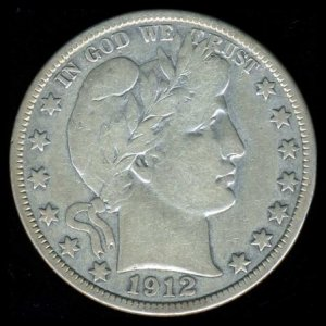 1912-D 1912D BARBER HALF DOLLAR - 90% SILVER - F15