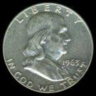 1963-D 1963D FRANKLIN HALF DOLLAR - 90% SILVER - LAST YEAR OF ISSUE - XF