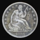 1856-O 1856O SEATED LIBERTY HALF DOLLAR - 90% SILVER - VG10 - FREE SHIPPING & INSURANCE