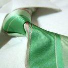 100% silk tie,light green stripe SW1548