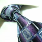 100% silk tie,purple/blue check SW1426