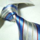 PAUL blue/silver stripe necktie SW959