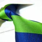100% silk tie SW2004,blue/green stripe,extra-long