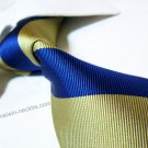 100% silk tie SW2005,golden/blue stripe,extra-long