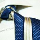 100% silk tie SW2007,blue/gold stripe,extra-long