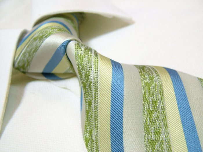 100% silk tie SW2759,green stripe