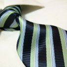 100% polyester tie PL14,extra-long green/black stripe
