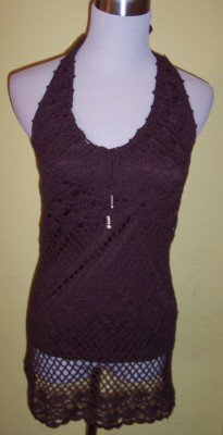 NEW JJ Basics brown crochet lined tunic halter top L M