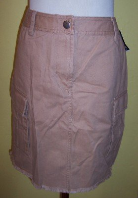 NWT INC camel khaki cargo pocket frayed raw hem skirt 8