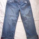 Anchor Blue Stretch distressed blue jean cuffed capri cropped 15