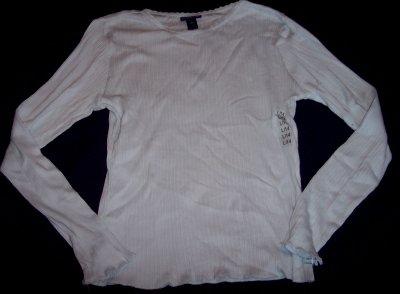 NEW Limited Too aqua blue stretch ribbed long sleeve top shirt L 14