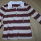 NEW Limited Too brown striped 3/4 sleeves shirt girls L 14