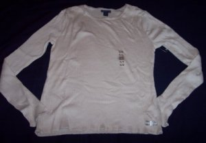 NEW Limited Too tan khaki stretch ribbed long sleeve shirt XL 16
