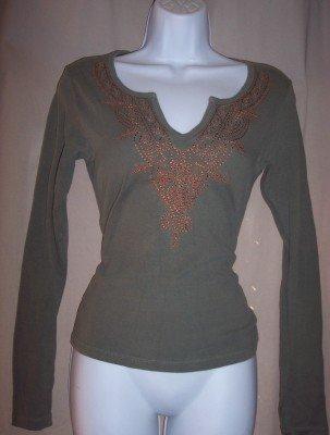 NWT AQUA olive green v-neck Boho l/s long sleeve fitted shirt S