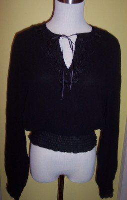 NWT Jones New York black Silk sheer smocked shirt blouse 10 M