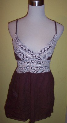 NWT Dolled Up by FANG brown boho ivory crochet babydoll top shirt L