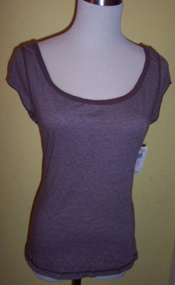 NWT Weavers brown ringer scoop neck fitted shirt top JR XL L