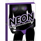Neon vibrating crotchless panties & pastie - purple